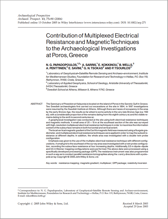 Contribution of multiplexed electrical resistance and magnetic techniques to the archaeological investigations at Poros, Greece
