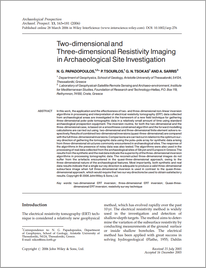 Two-dimensional and three-dimensional resistivity imaging in archaeological site investigation