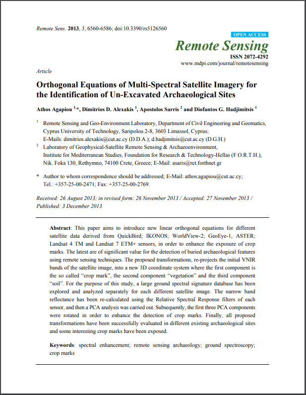 Orthogonal Equations of Multi-Spectral Satellite Imagery for the Identification of Un-Excavated Archaeological Sites