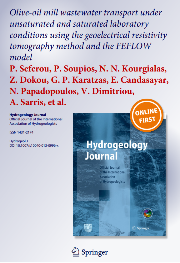 Olive-oil mill wastewater transport under unsaturated and saturated laboratory conditions using the geoelectrical resistivity tomography method and the FEFLOW model
