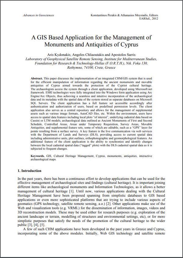 A GIS Based Application for the Management of Monuments and Antiquities of Cyprus