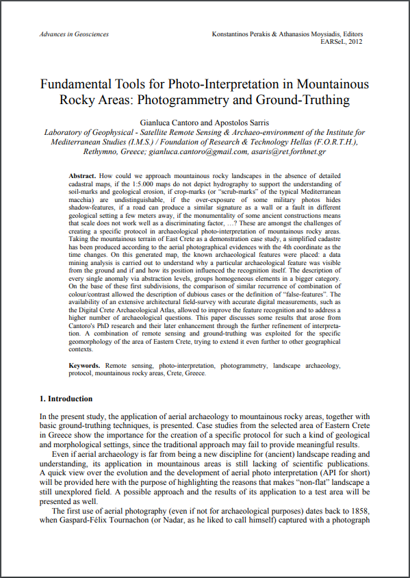 Fundamental Tools for Photo-Interpretation in Mountainous Rocky Areas: Photogrammetry and Ground-Truthing