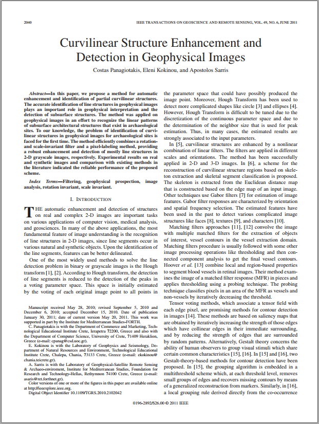 Curvilinear Structure Enhancement and Detection in Geophysical Images