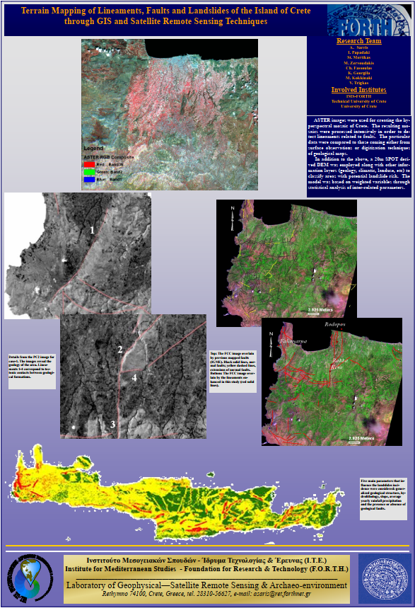 Terrain Mapping of Lineaments, Faults and Landslides of the Island of Crete through GIS and Satellite Remote Sensing Techniques